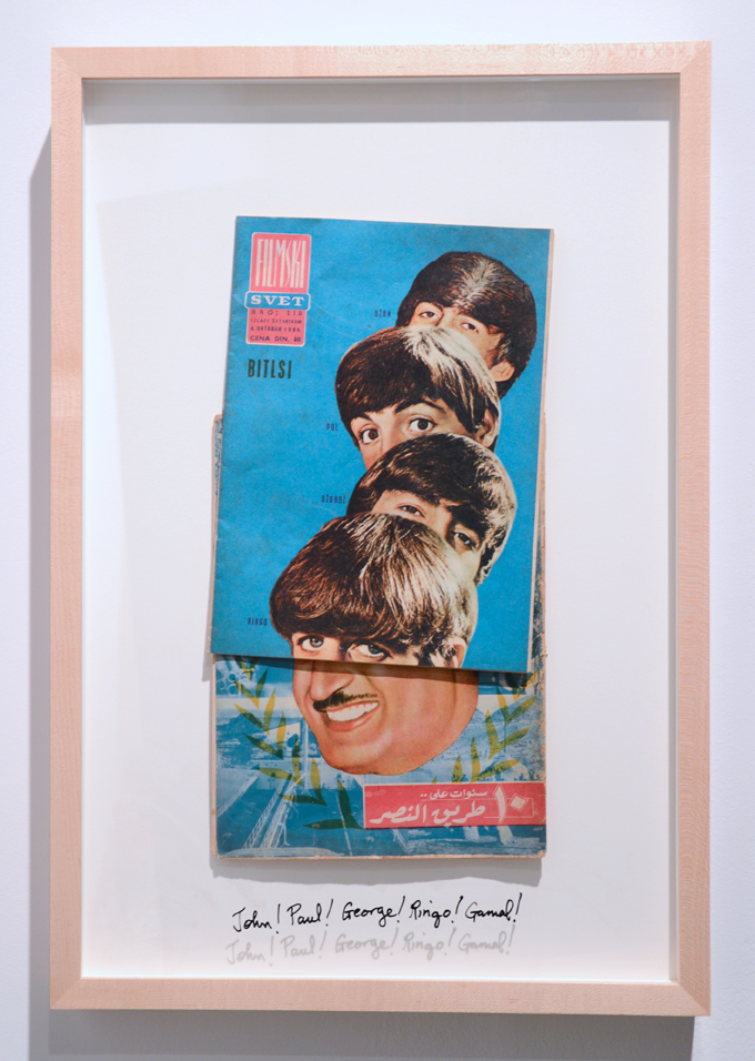 Michael Rakowitz, John! Paul! George! Ringo! Gamal!, 2014, Yugoslav Filmski Svet magazine, October 8, 1964 on Al Musawar magazine, 1960, 23.75 x 16.75 inches, framed.